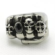 Mens Boy 316L Stainless Steel Cool Punk Gothic Cool Fist Black CZ Newest Desing Polishing Ring