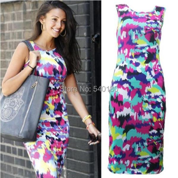 2015 Print Women Dress Chiffon Blends Sheath Knee-Length Sleeveless O-neck Shoulder Casual - Queen To King store