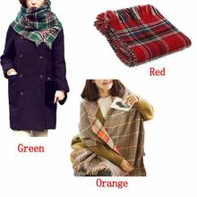 Fantastic 2015 Fashion Women's Two-Sided Tartan Scarf Shawl Stole Plaid Tassels Knitting Scarf