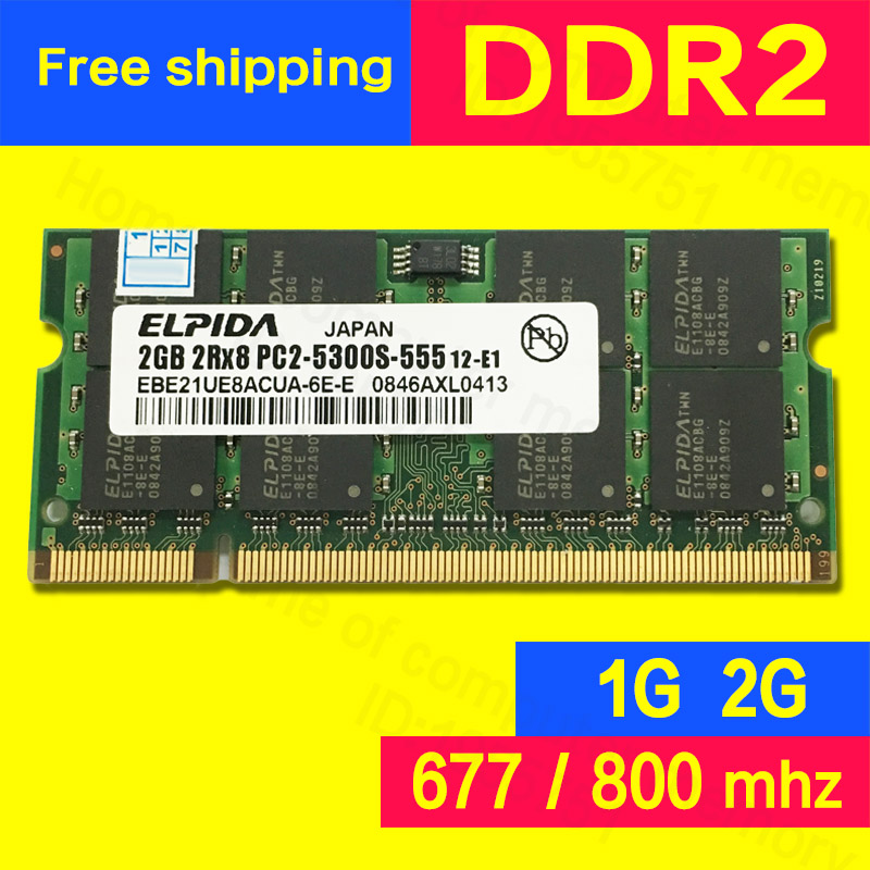 Elpida Original DDR2 2gb 667mhz PC2-5300 800mhz PC2-6400 ram for laptop computer notebook Memory Memoria sodimm 240-pins(China (Mainland))
