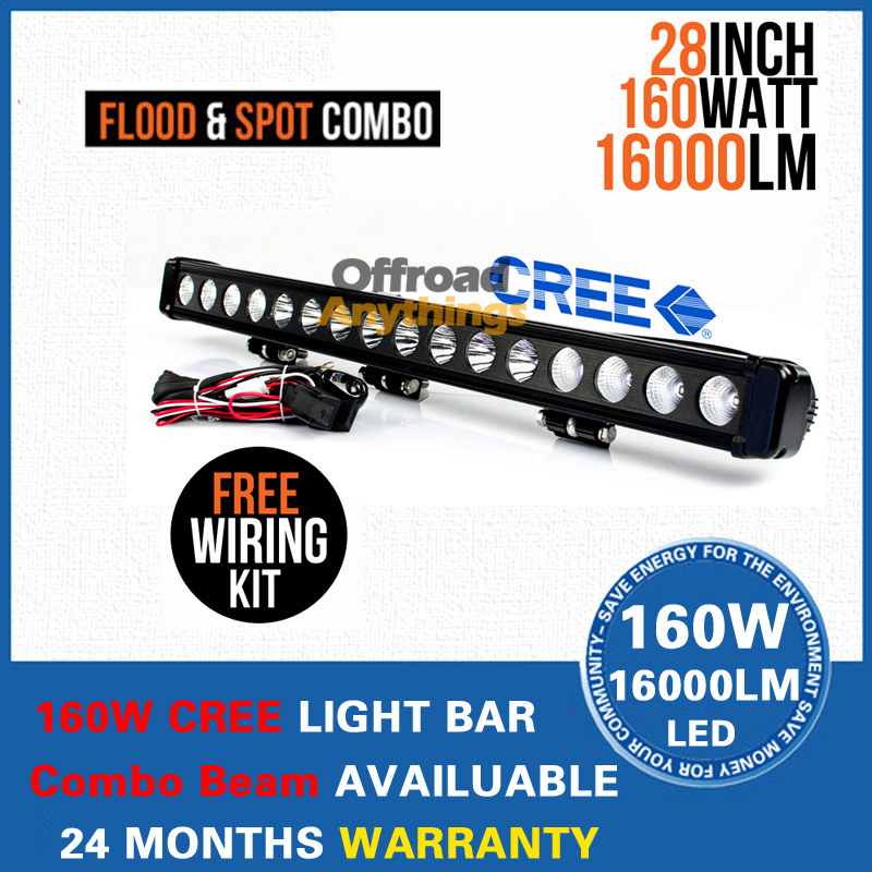 28'' Single Row 160W Cree LED Work Light Bar Reflector Cup LED Offroad Working Driving Lamp Waterproof IP67Combo Beam(China (Mainland))
