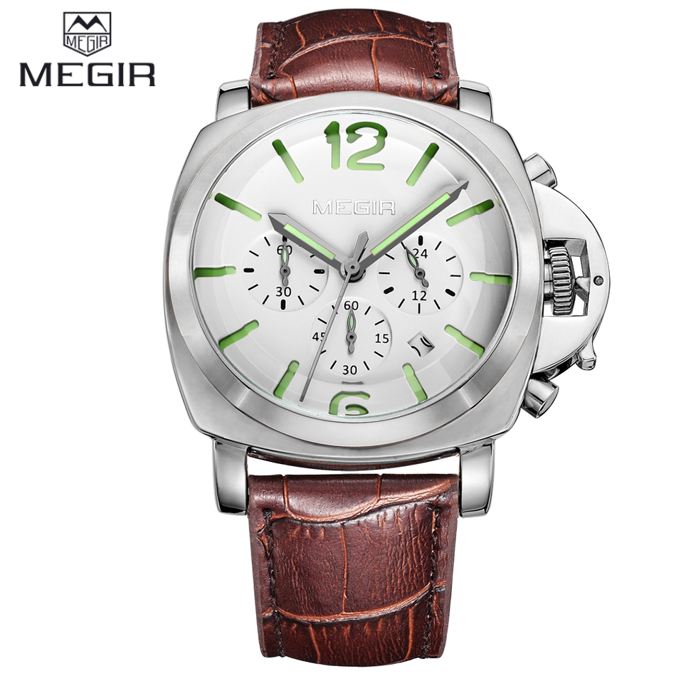 Branded Megir Watch Chronograph Function Men Sports Watches Military Watch Leatther Noctilucent Wristwatches Relogio Masculino<br><br>Aliexpress