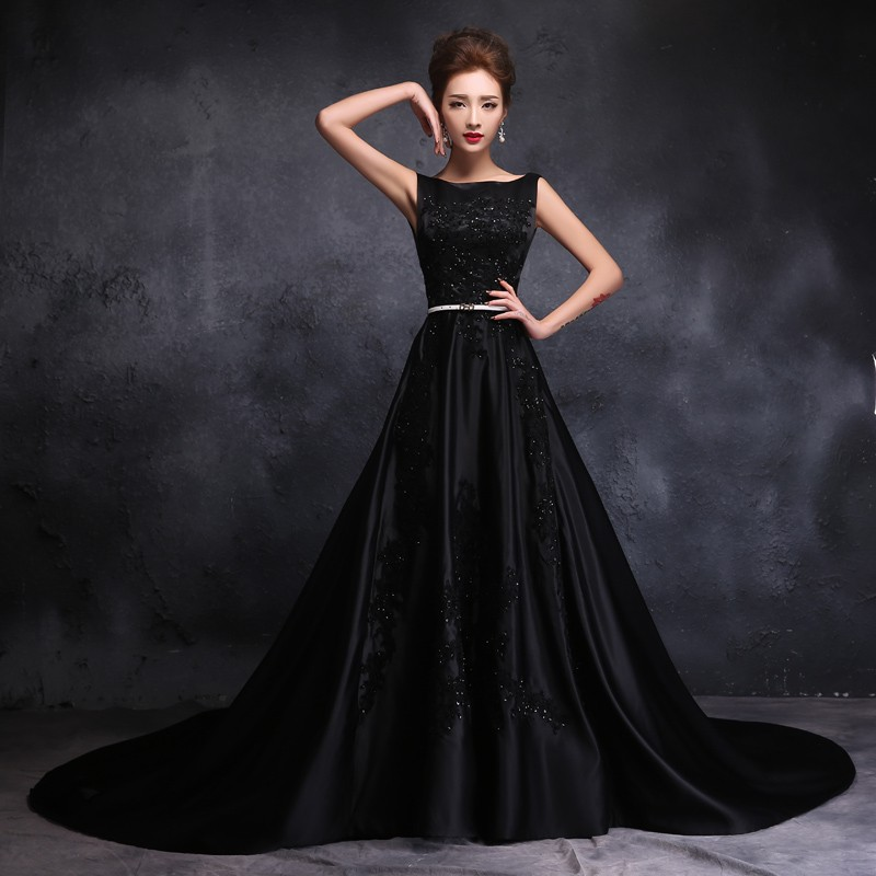 2016 stain gothic black wedding dresses chapel train scoop for Images of black wedding dresses