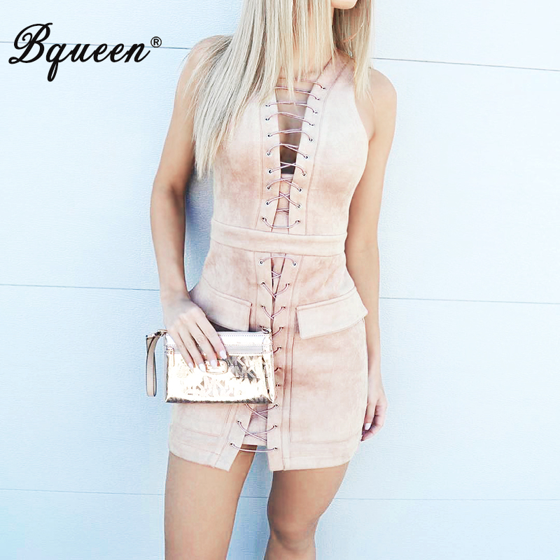Bqueen 2017 Sexy Women Dress Lace-Up Deep V Pockets Sleeveless Summer Dress Nude Black Tank Club Dress Party Dress(China (Mainland))