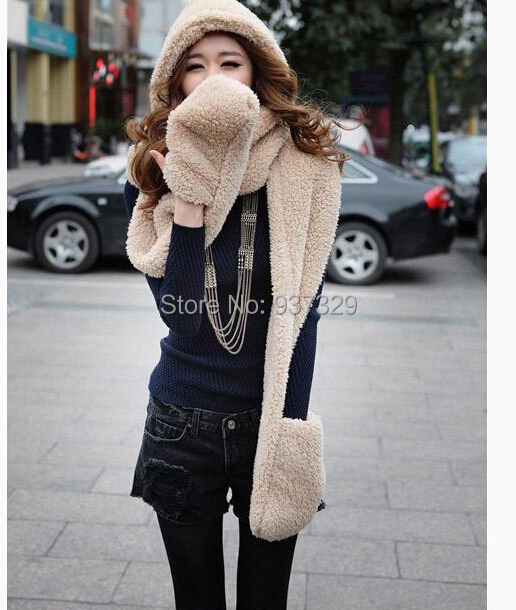 2014 Hot Fashion New Women Winter Warm Soft Plush Faux Fur Hooded Cap Hat Scarves Hood Pocket Gloves Scarf 9-134(China (Mainland))