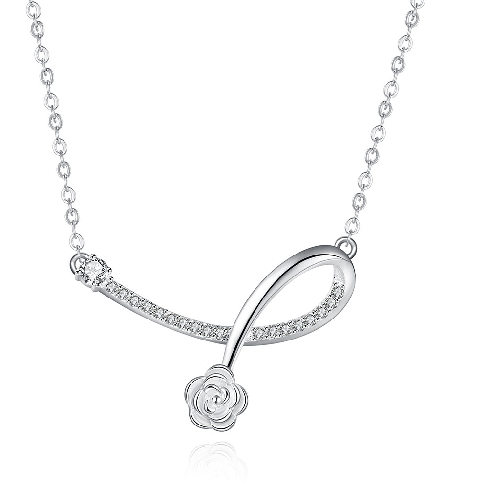 New Fashion Daisy Flower Bloom In Curve Shape 925 Sterling Silver Necklace Small CZ Diamond High Quality Low Price Birthday Gift(China (Mainland))
