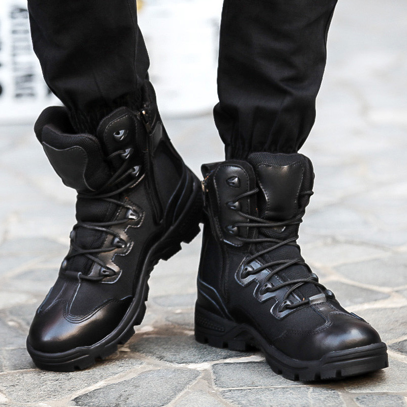 British Style Buckle and Lace-Up Design Men's Combat Boots #women ...