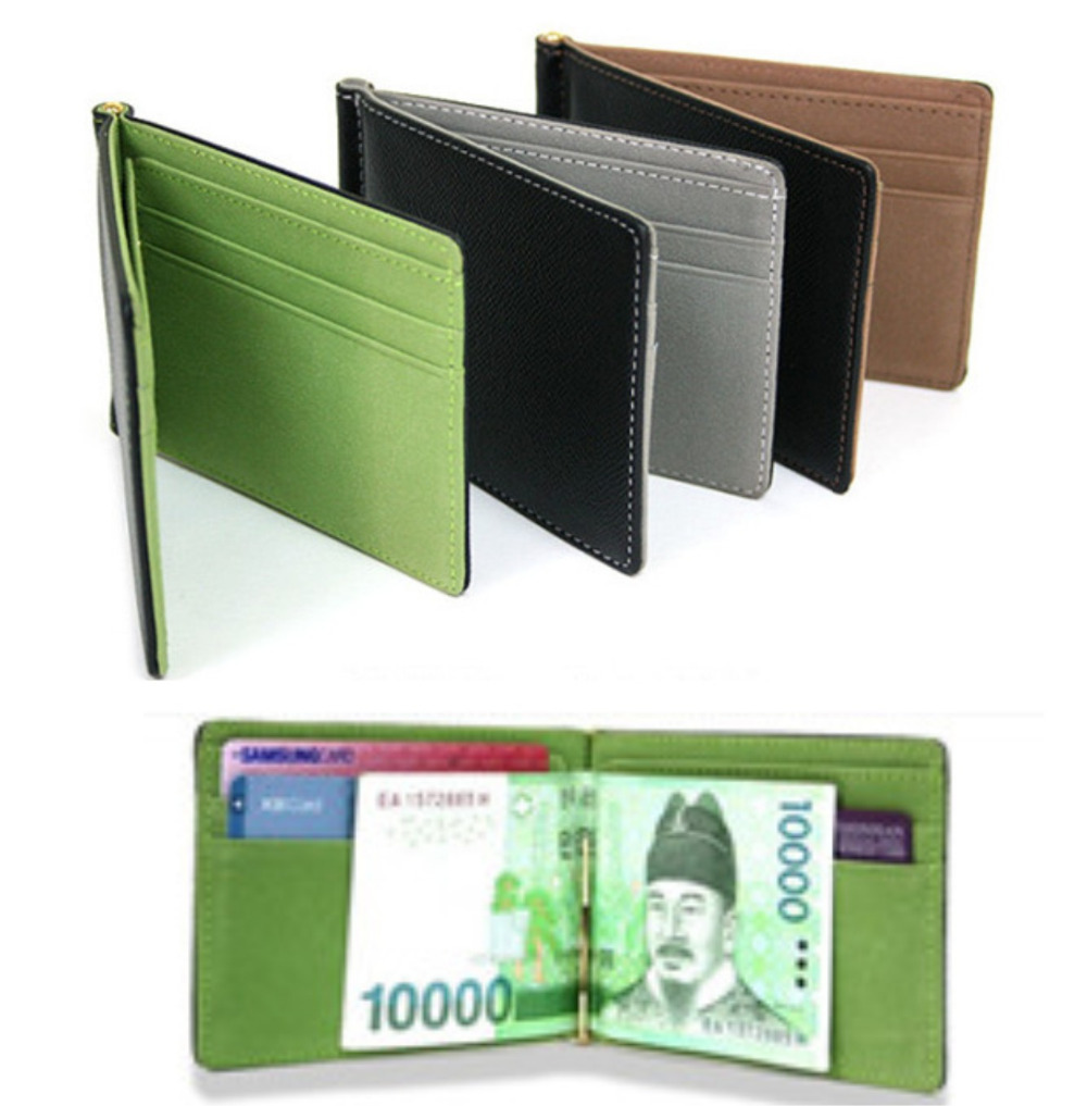 New South Korea MONEY CLIPS Men's wallet Multifunctional colourful Ultra-thin men purses orange&coffee&green size11.3*8.2*0.8(China (Mainland))