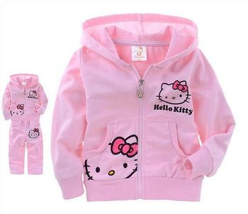 hello kitty children clothing long sleeve coat +pants pink white 3-8years children's autumn wear kids suit/clothes free shipping