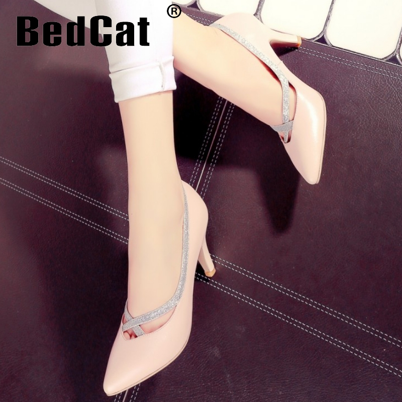 women real genuine leather stiletto pointed toe high heel shoes brand sexy fashion pumps ladies heeled shoes size 34-43 R5836<br><br>Aliexpress