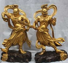 JP S0524 Japan Japanese Bronze 24K Gold Door deity Deva kings Two warrior God Statue