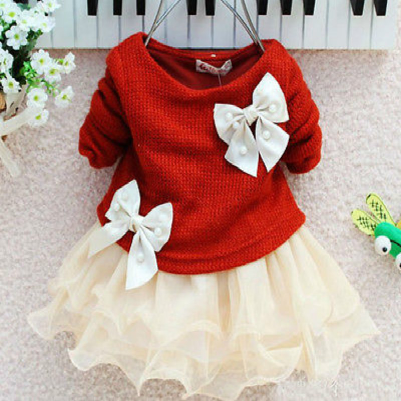 Xmas baby girls knit sweater tops lace tulle tutu bow party dresses