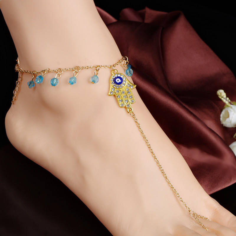 Hot Fashion Foot Jewelry Chain Link Anklets Women Girl Gold Plated Inlaid Crystal bead Anklet Bracelets Free Shipping BW599(China (Mainland))