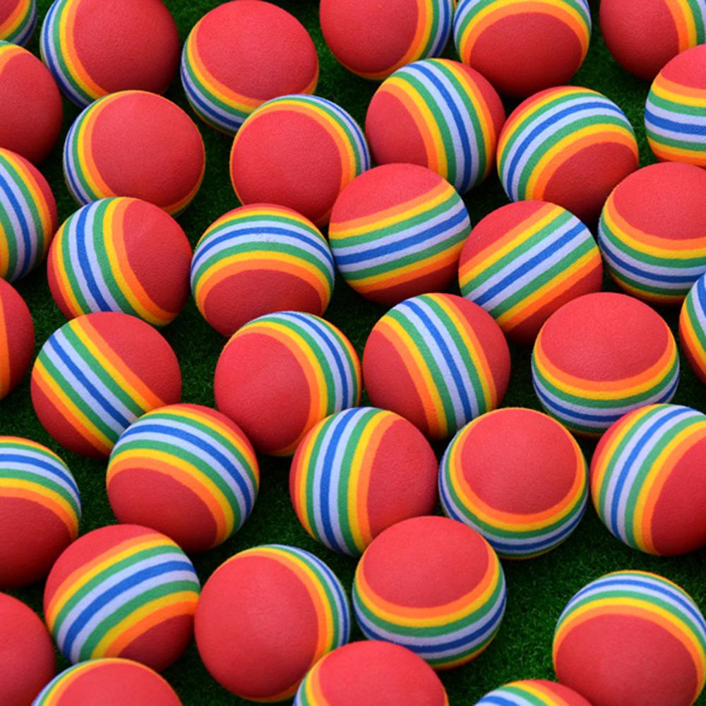 Free Shipping 10 PCS/LOT Light-weight EVA Sponge Golf Practice Balls Rainbow Stripe Foam Golf Balls Golf Practice Ball(China (Mainland))