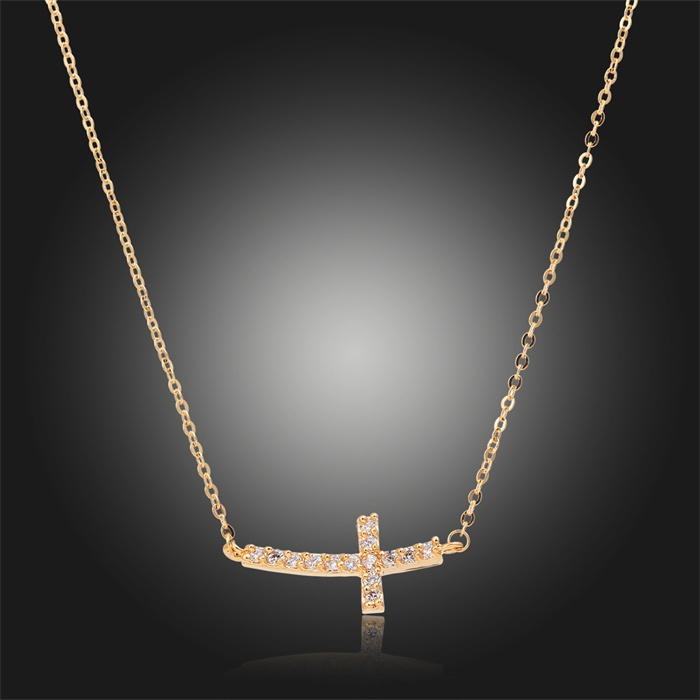 Horizontal Sideway Cross Channel Pave Crystal Slim Cable Chain Pendant Necklace 18K Gold Plated Fashion Jewelry Bijoux for Women(China (Mainland))