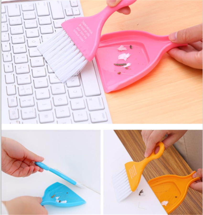 Multipurpose Desktop Sweep Computer Keyboard Nook&Cranny Dust Cleaning Dustpan+Small Broom Suit Mini Dustpan Set Bule&Pink Color(China (Mainland))