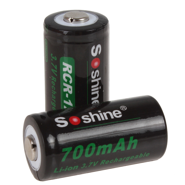 Soshine RCR 123 16340 700mAh 3.7V Li-ion Rechargeable Battery Lithium Batteries with Retail Package(China (Mainland))