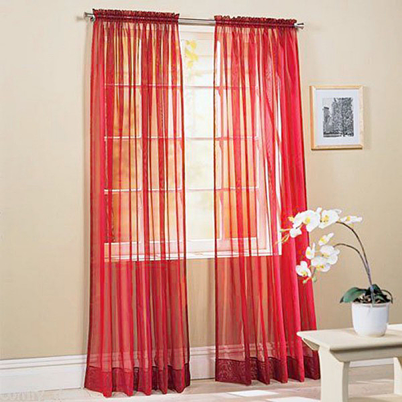 Romantic Pure Color Voile Door Window Curtains for Living Room Bedroom Home Wedding Banquet Decoration Supplies 19 Colors(China (Mainland))