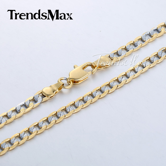 Custom ANY Length 4mm Flat Hammered Curb Silver Yellow Gold Filled Necklace Mens Chain Womens Jewelry