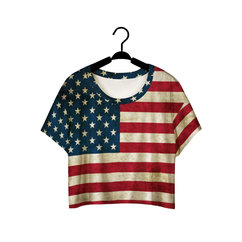 2015 Summer T Shirt Women American Flag Print Short Sleeve