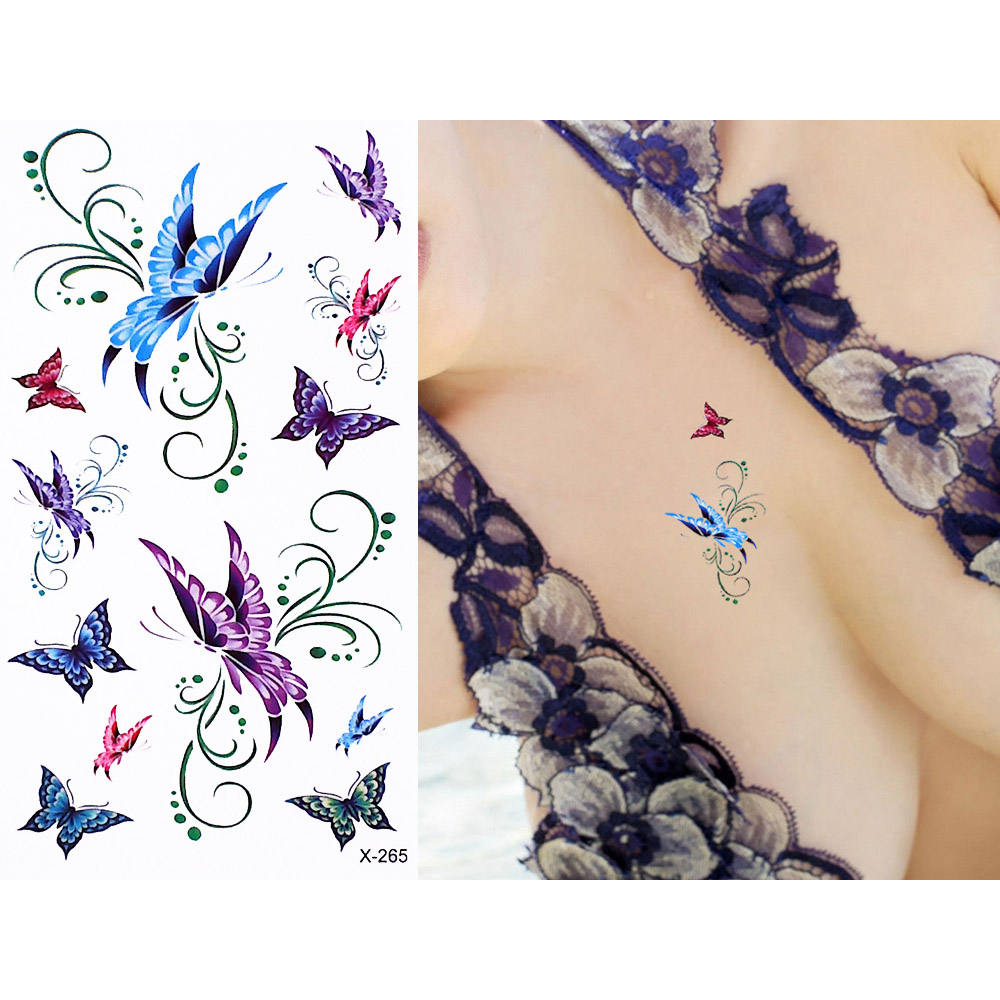 1 Sheet Colored Body Tattoo Flower Butterfly Pattern Design Temporary Tattoo Sticker for Women Men Hand Art Chinese ink Painting