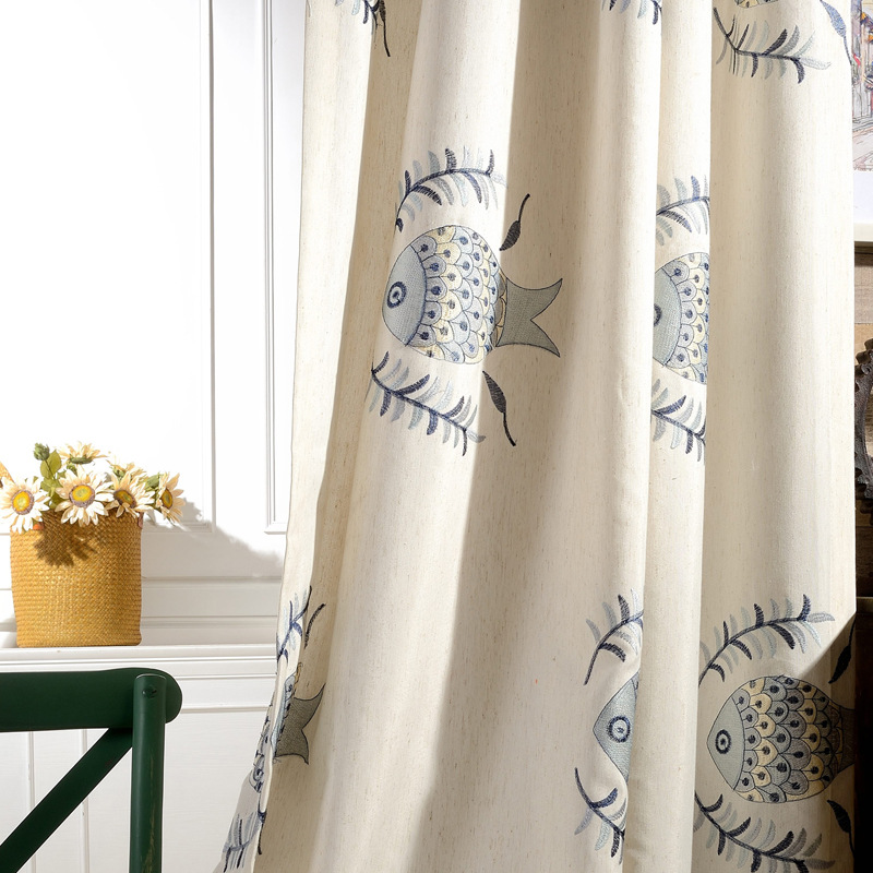 Online buy wholesale fish window curtains from china fish for Fish curtains for windows