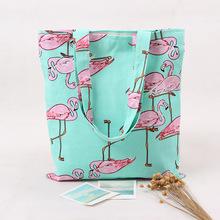L225 Handmade Cotton Canvas Eco Reusable Shoulder Bag Shopping Tote Flamingo NEW(China (Mainland))