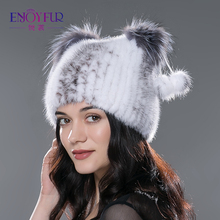 women's genuine mink fur hat with fur pom poms winter autumn lovely cat ear style caps 2015 latest brand new hats for girls(China (Mainland))