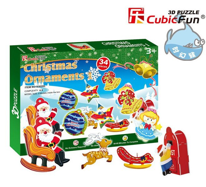 candice guo! 3D puzzle toy CubicFun 3D paper model DIY jigsaw game mini Christmas ornaments 1pc(China (Mainland))