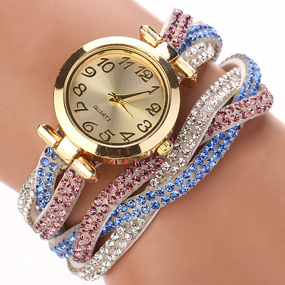 2015 Colorful Ladies Luxury Rhinestone Wrap Bracelet Quartz Wristwatches Women Dress Watches Relogio Feminino Dropshipping XR748(China (Mainland))