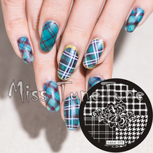 New Stamping Plate hehe75 Nail Art Template Flower Plaid Houndstooth Swallow Grid Elegant Stamping Transfer DIY Tool