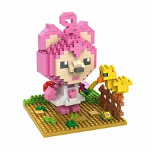LOZ Diamond Building Blocks Pink Foxes Peach Chinese Cartoon Anime Action Figures 3D Handwork Leisure Bricks For Kids Gift