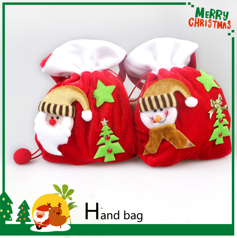 2pcs/lot 30*18cm New Arrival Flannelette Gift Candy Hand Bag Christmas Tree Santa Claus Decoration For Home Party Supplies(China (Mainland))