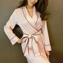 High quality smooth  silk bathrobe nightgown women sexy long sleeved robe  Home Furnishing elegant ladies pajama sets 03B013(China (Mainland))