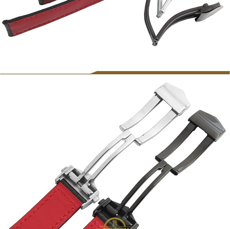 Натуральная кожа ремешок браслет ремешок для часов-красный сшитые мужские наручные часы группы раз пряжка 20 мм 22 мм углеродного волокна пояса