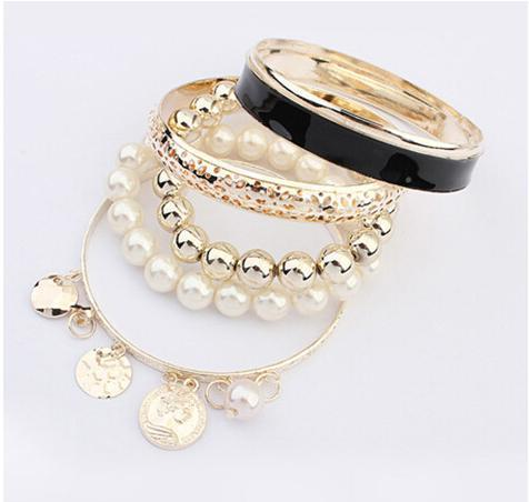 European Fashion Hollow Punk Multilayer Coins Pearl Bracelets &Bangle Sets For Women Charm Jewelry Wholesale XB2015432(China (Mainland))