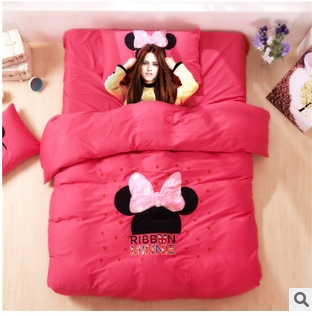 Minnie mouse bowknot bedding sets/designer king size duvet covers/doona queen quilt cover bed sets girls comforter sets pink(China (Mainland))
