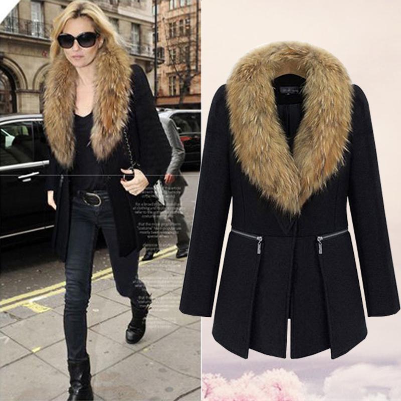 Fur Collar Wool Coat