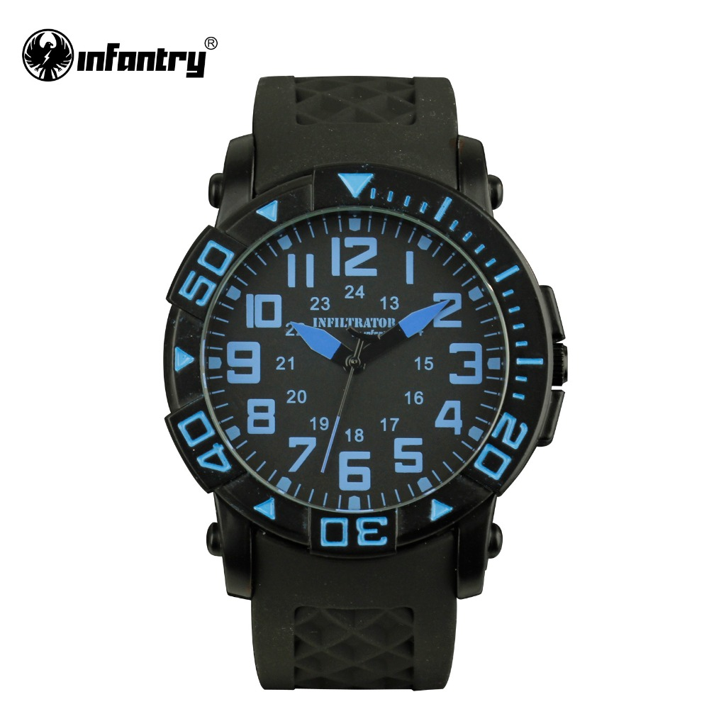 INFANTRY Mens JP Quartz Watches 2016 Fashion Navy Blue Aviator Sports Watches Silicone Strap Male Clock Relogio Masculino  <br><br>Aliexpress