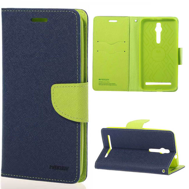 New Stylish Mercury Diary Magnetic Leather wallet Stand Cover case for flip Asus zenfone 2 ZE551mL freeshipping phone bags(China (Mainland))