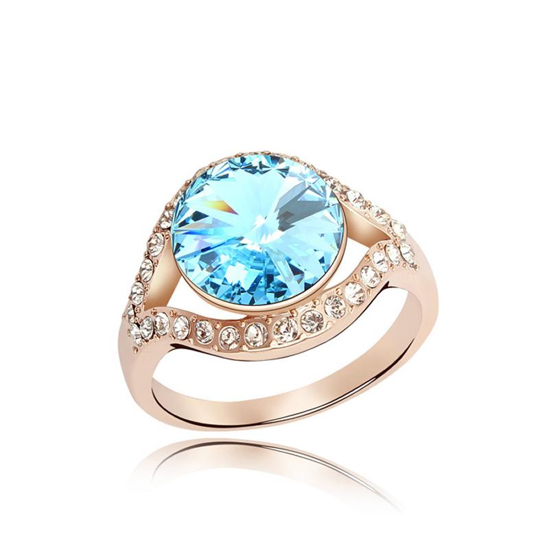 High End Bride Wedding Ring Crystal From Swarovski Women Round Crystals Eleme