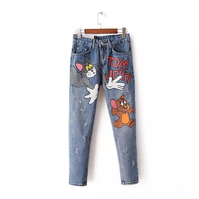 ZV16 Fashion 2016 Women School Style Zipper Pocket Blue Denim Jeans Cartoon Print Ripped Casual ...