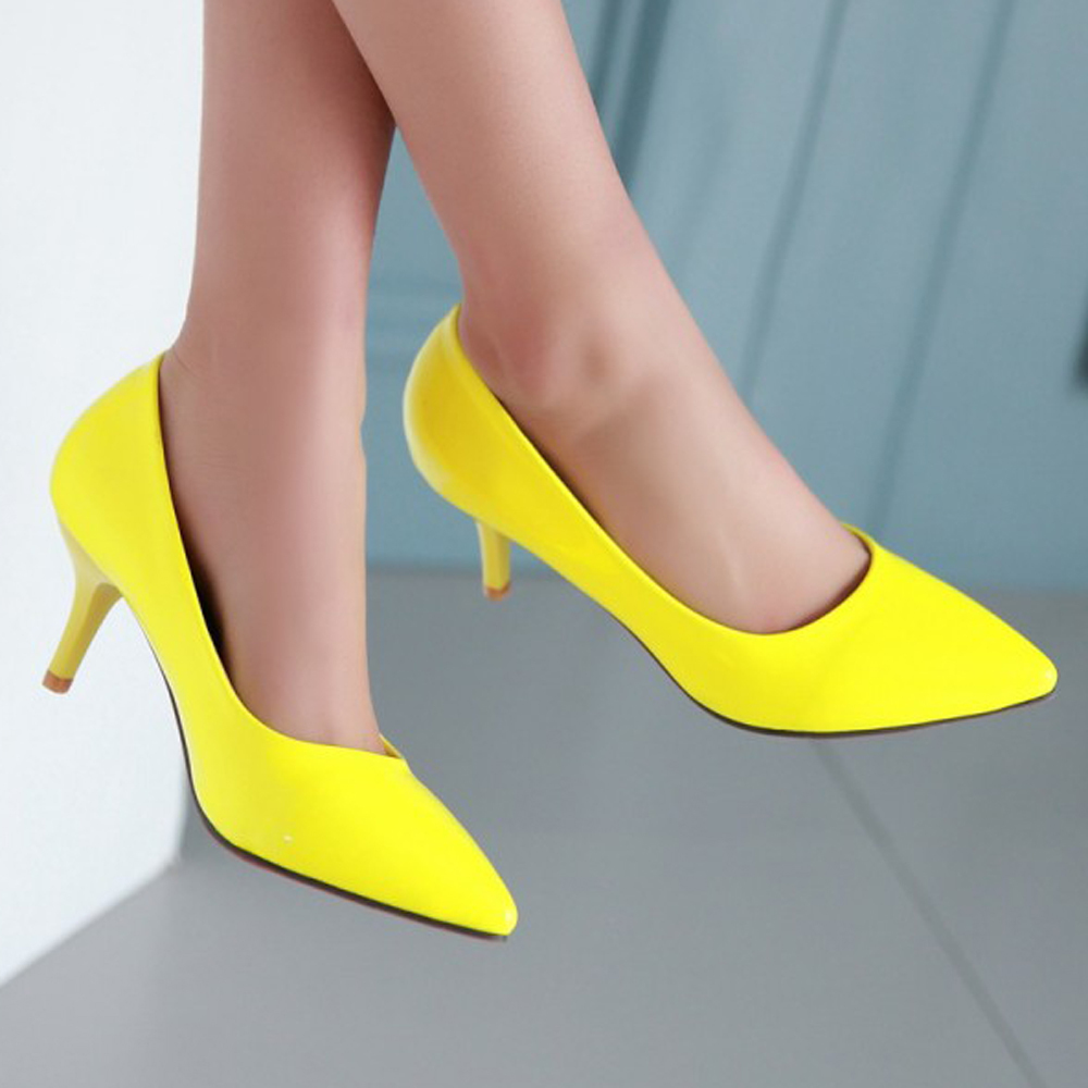 Red Sole Mid Heels Pointed Toe Yellow Shoes Woman Pumps Red Bottom Stiletto White Bridal Shoes Ladies Shoes Size 34 -39 6700(China (Mainland))