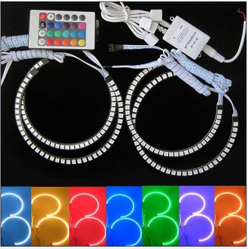 HOT Colorful 4*127mm E30 E32 E34 E39 SMD Angel Eye RGB LED 5050SMD Headlight for BMW LED Angel Eyes Kit SMD Free Shipping(China (Mainland))