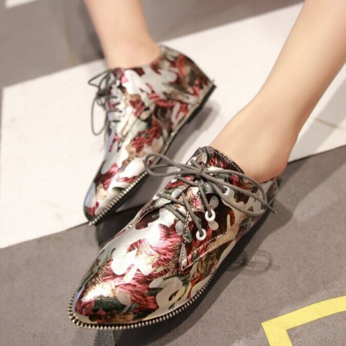 Printed fashion pointed toe shoes women high shoes Lace-Up Invisible Heel woman shoes<br><br>Aliexpress
