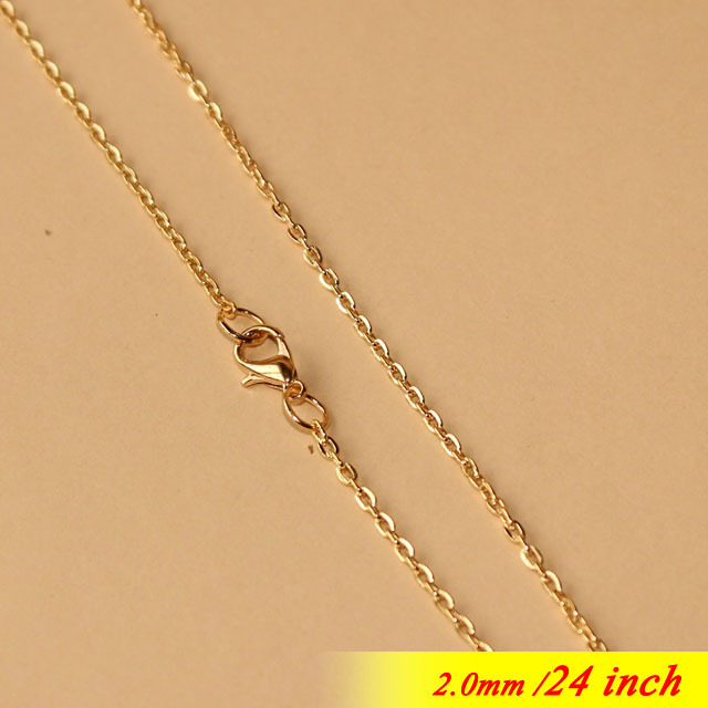 24 Rose Gold Sterling With Lobster Clasps For Fashion Necklace Chains Pendants 2mm Metal Jewellery Flat Cable Links Components<br>