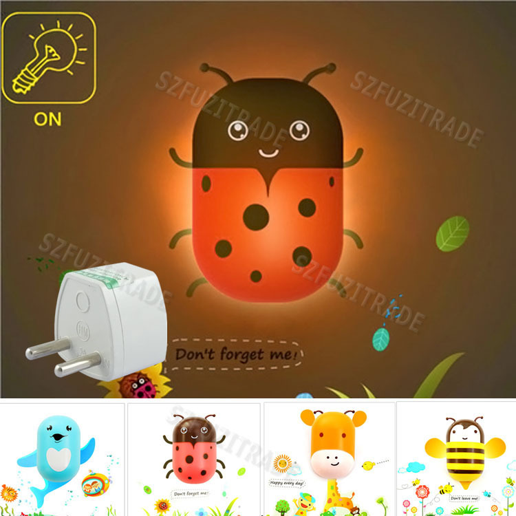 With EU Adapter Cute Animal Night Light Kids Baby Light Sensor Lamps with Nice Wall Sticker, Led Nightlight for Gift -42(China (Mainland))