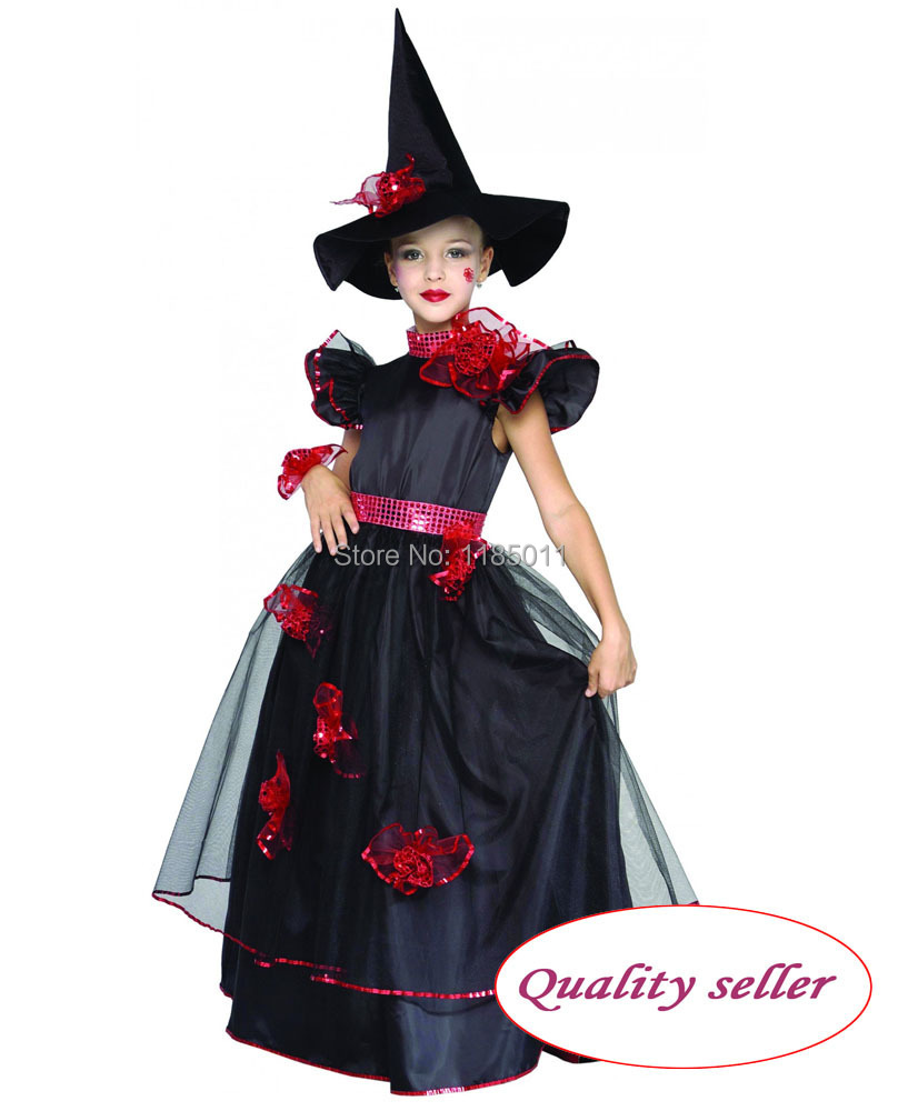 Witch Girl Costumes Cosplay Satin dress pretty fantasia girl carnival Halloween costume for Kids Children(China (Mainland))