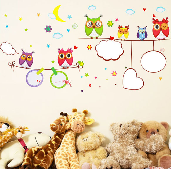 Home cartoon wall stickers child real whiteboard stickers blackboard owl