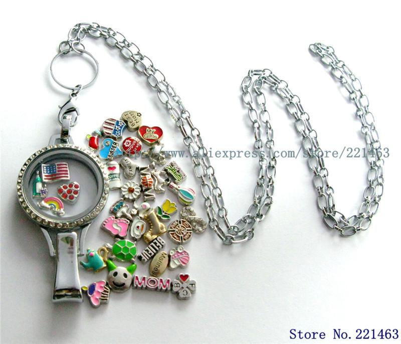 1pc necklace locket+13pcs Floating Locket Charms Copy Stainless Steel Badge hold lanyard Floating Memory Glass Floating locket(China (Mainland))